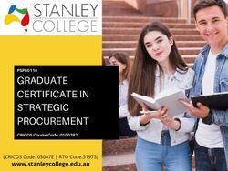 Enrol now for best graduate certificate in strategic procurement courses in Aust
