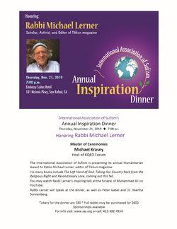 International Ass'n Sufism's Annual Inspiration Dinner Honoring Michael Lerner